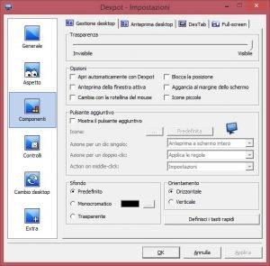 Dexpot impostazioni componenti