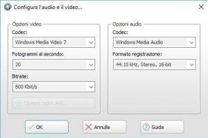 Ashampoo Snap 8 configurazione manuale codec