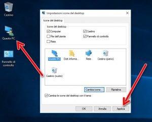 Visualizzare le icone di sistema sul desktop