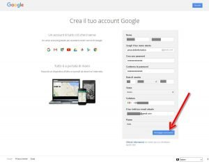 Creare un account Google