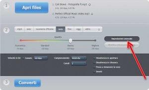 Online audio converter Impostazioni avanzate
