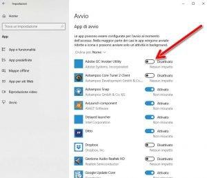 Gestire i programmi che si avviano automaticamente con Windows 10