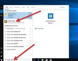 Creare promemoria sul desktop con Sticky Notes