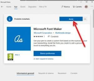 Avvia Font Maker Microsoft Store