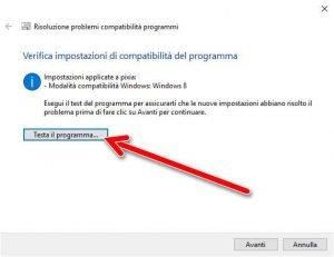 Verifica impostazioni di compatibilità del programma