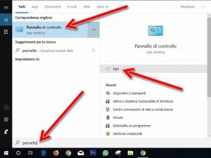 Aprire pannello di controllo windows 10