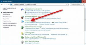 Pannello di controllo sistema Windows 10