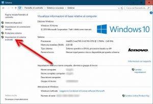 Impostazioni di sistema avanzate Windows 10