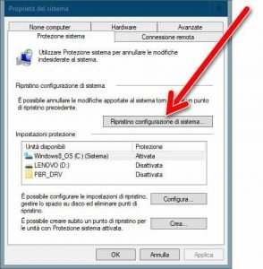 Creare un punto di ripristino in Windows 10